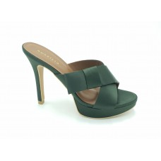 "AUSSILIA ""Flamenco"" Dark Green Satin Stiletto Shoe"