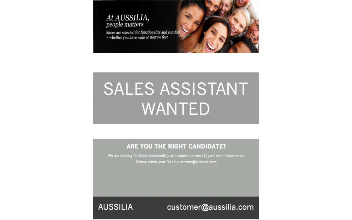 Sales Assistant Wanted!