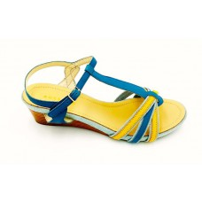 "AUSSILIA ""Emilia"" Blue-Yellow Leather-Denim Wedge Shoe"